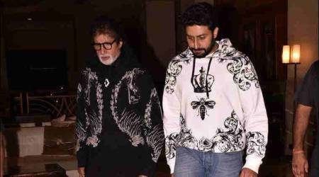 When Amitabh Bachchan and Abhishek Bachchan twinned in funky sweatshirts