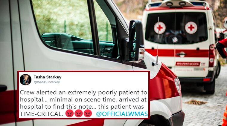 ambulance receives angry note, paramedics curing critical patient get angry note, parking issue, parking problems, Indian express, Indian express news