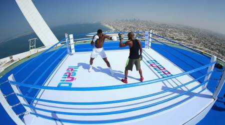 Anthony Joshua trains on top of Burj Al Arab, see breathtaking pictures