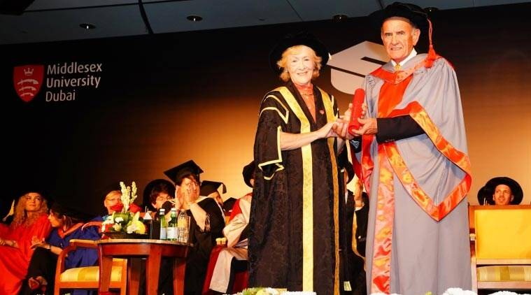 Colm McLoughlin receives honorary doctorate from Middlesex University Dubai