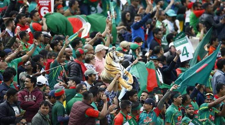 Bangladesh cricket fans with flags