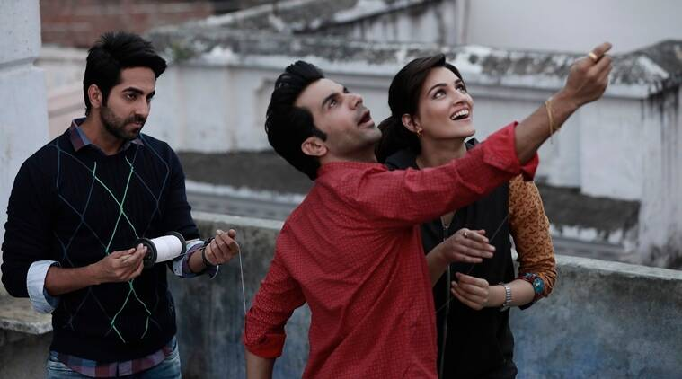 Ayushmann Khurrana, Rajkummar Rao and Kriti Sanon in a still from Bareily Ki Barfi which was directed by ashwiny iyer tiwari