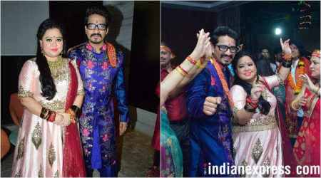 Bharti Singh and Haarsh Limbachiyaa seek blessings from Goddess Durga, see photos, videos