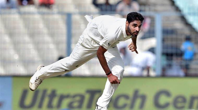 Bhuvneshwar Kumar in action against Sri Lanka at Eden Gardens