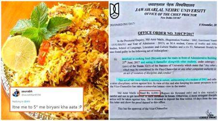 JNU brews a storm on Twitter after up to Rs 10,000 fine for students cooking BIRYANI!
