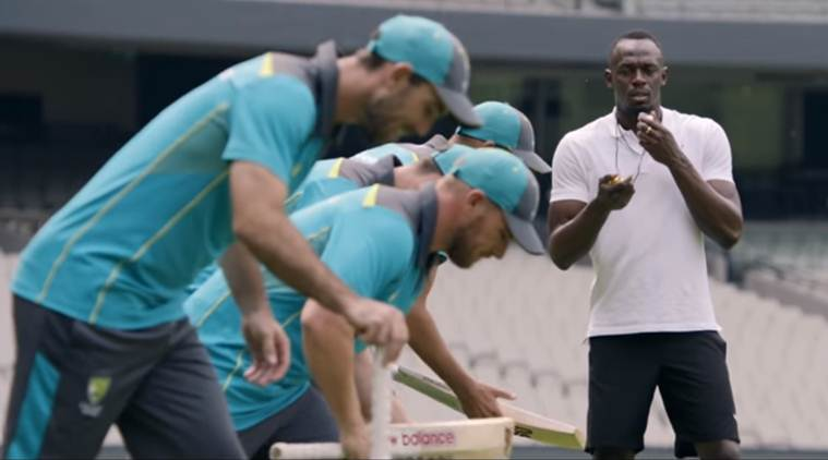 usain bolt with australia cricketers ashes