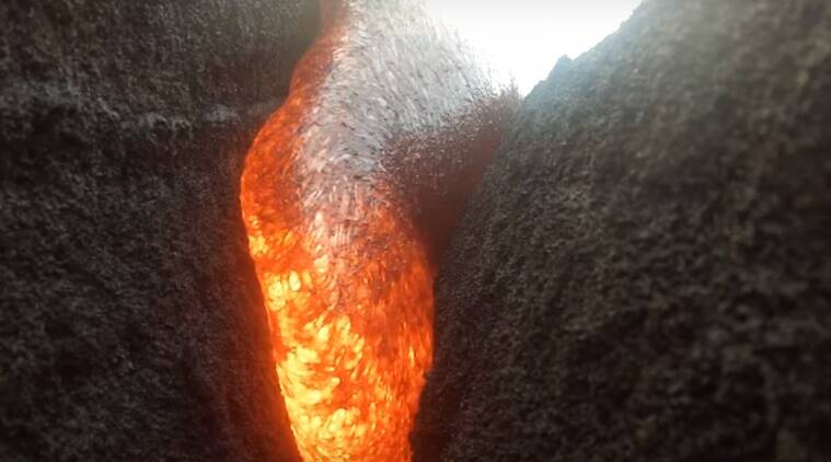 gopro camera survives lava, camera manages to record lava, lava recorded by gopro camera,