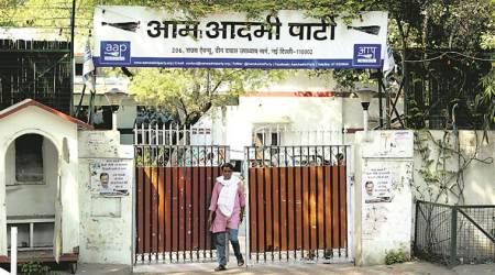 AAP, AAP Office, Delhi, Aam Aadmi Party, Theft, Campaign material, India News, Indian Express