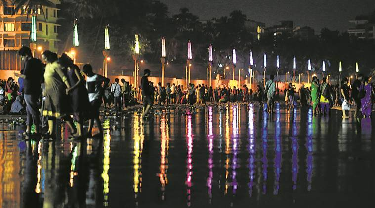 juhu beach comes alive gets bathed in decorative lights cities