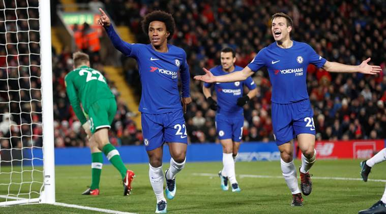 Willian earns Chelsea 1-1 draw against Liverpool at Anfield