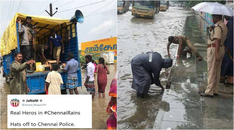 chennai rain, chennai police, chennai rain 2017, chennai flood, chennai rain police photos, chennai cops, chennai traffic police, indian news, trending news, viral news