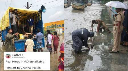 Chennai Rains: Photos of cops cleaning drains, distributing food go viral, Tweeple can't thank them enough