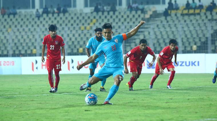 India football team captain Sunil Chhetri penalty against Myanmar AFC Asian Cup qualifier