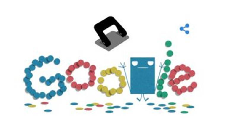 Hole punching machine celebrates 131st anniversary with a Google doodle