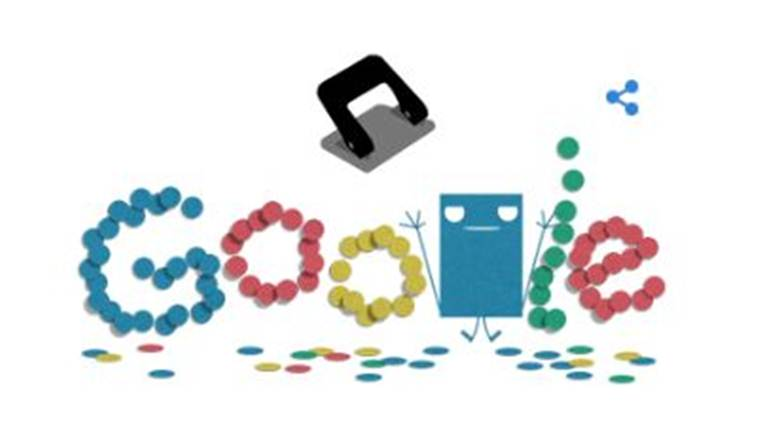 Google Doodle Celebrating Hole Punch 131st anniversary
