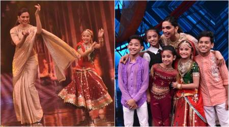 Padmavati actor Deepika Padukone on the sets of Super Dancer 2