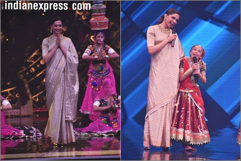 Padmavati actor Deepika Padukone on the sets of Super Dancer 2