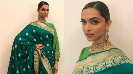 Deepika Padukone looks like royalty in a rich green sari: Padmavati promotions