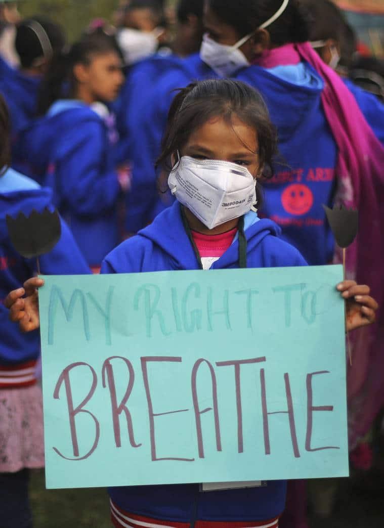 Delhi pollution, kid wearing mask, delhi smog