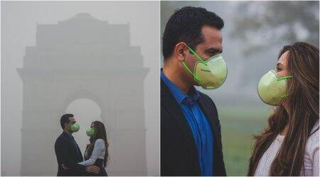 delhi, air pollution, delhi smog, delhi haze, mask pollution, delhi mask photoshoot, delhi smog mask couple photoshoot, unique photo series, pollution photos, delhi smog photos, viral news, indian express