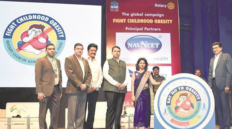 devendra fadnavis, rotary club pune, maharashtra chief minister, child obesity, indian express