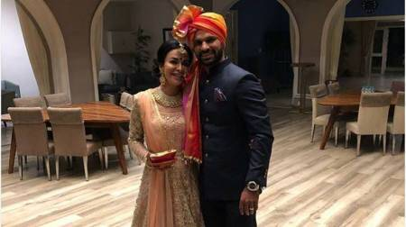 Shikhar Dhawan with wife Aesha
