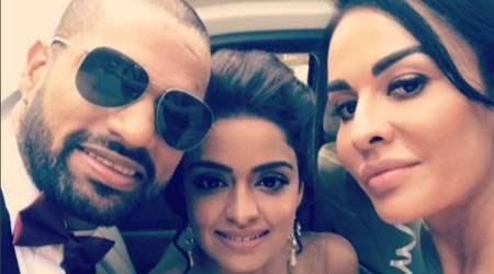 Shikhar Dhawan shares photo with newly wed sister, wife