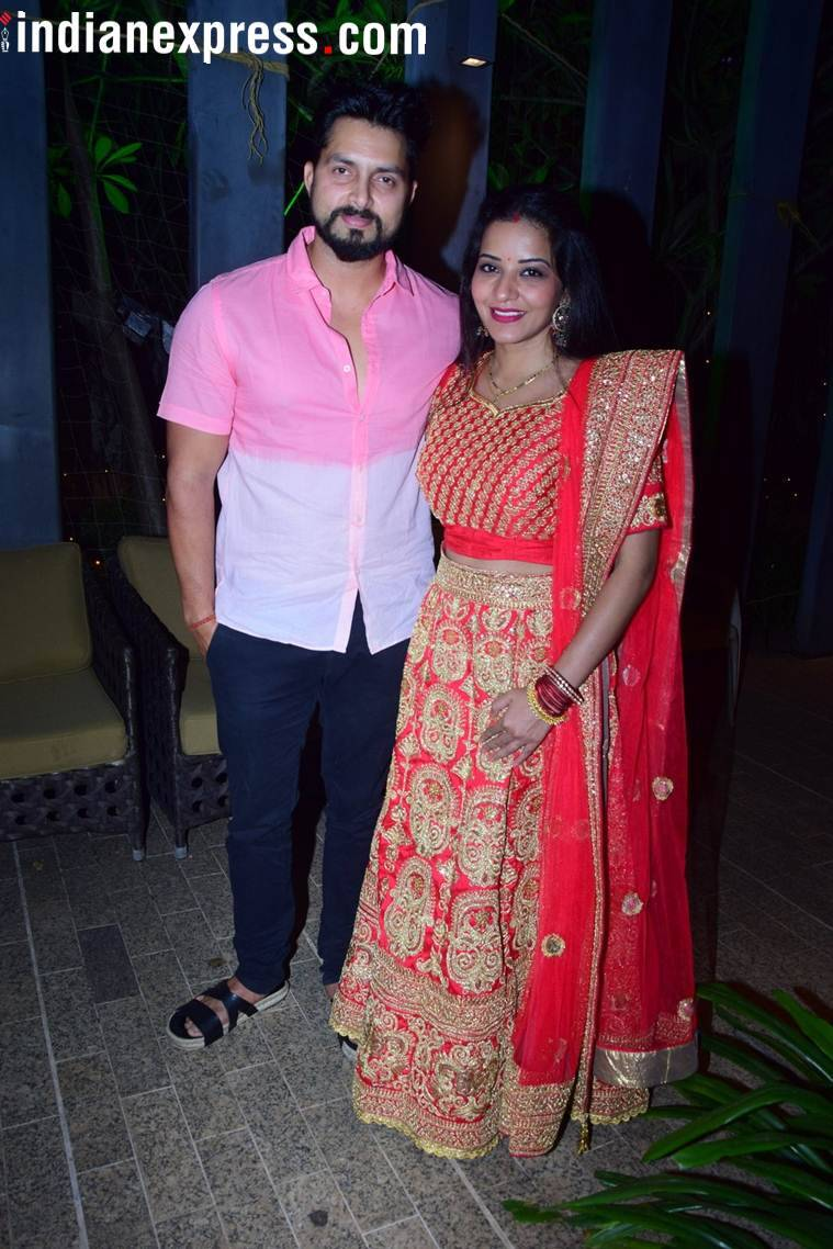 Monalisa with husband Vikrant at Bharti Singh Maata kI Chowki