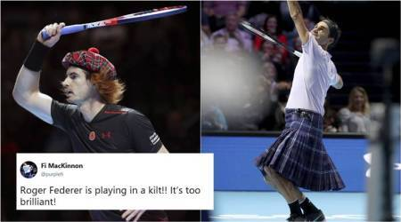 Roger Federer wore a KILT in a match against Andy Murray; Tweeple can't keep calm