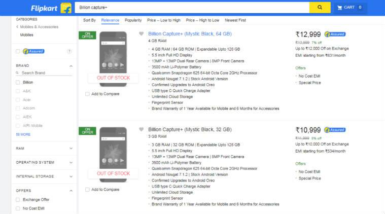 Flipkart announced today that the Billion Capture+ sold out on the day of its launch.
