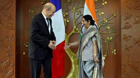 India-France ties, External Affairs Minister Sushma Swaraj, Sushma Swaraj, Minister for Europe and Foreign Affairs of France Jean-Yves Le Drian, Jean-Yves Le Drian, Rafale, Rafale Deal, India News, Indian Express, Indian Express News