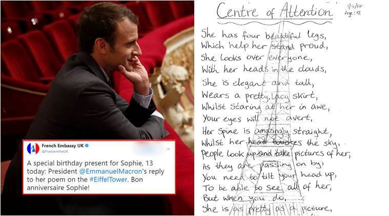 french president penned a birthday poem for 13 year old british girl