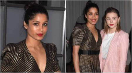 Freida Pinto makes a strong style statement in this Bottega Veneta dress