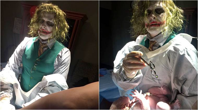 Heath Ledger, Halloween 2017, dr jocker deliver a baby, halooween costume, halloween jocker costume, Halloween celebration, Henry County Medical Center, jocker, Indian express, indian express news