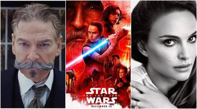 hollywood news of today includes kenneth branagh and his film murder on the orient express, jessica chastain, natali portman, adam driver and his upcoming film star wars the last jedi