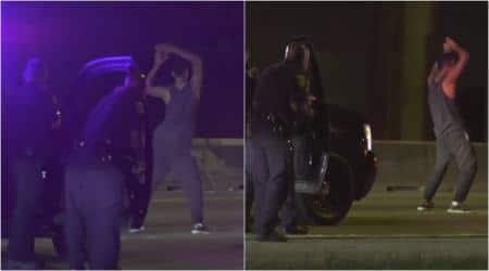 police videos, police arrest videos, man starts dancing after arrest, texas man dance after arrest, bizarre news, viral videos, odd news, indian express