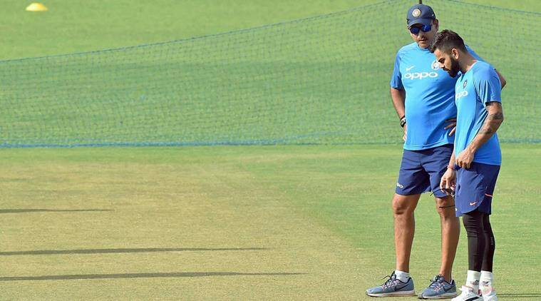 India captain Virat Kohli inspects the pitch with coach Ravi Shastri