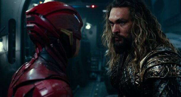 ezra miller as flash and jason momoa as aquaman