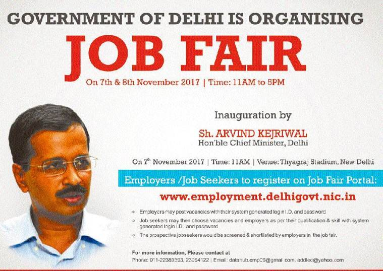 Delhi government job fair 2017, Delhi job fair, job fair, Arvind Kejriwal, Delhi CM Arvind Kejriwal, Delhi News, Indian Express, Indian Express News