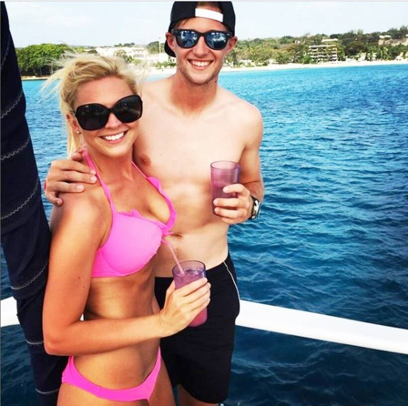 Joe Root with his wife