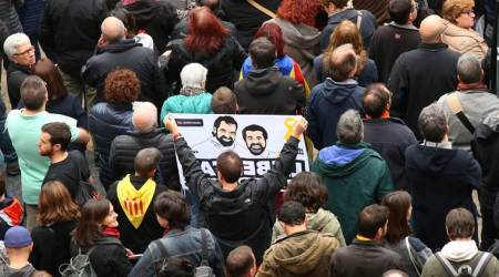 Catalonia independence demonstrators participating in rally against Spanish government