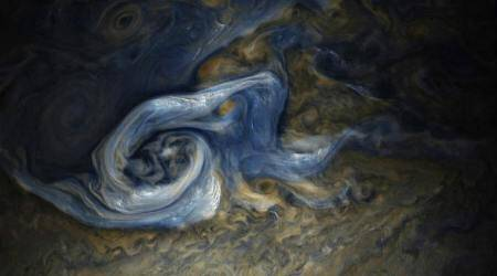 NASA Juno spacecraft, Jupiter storm, Jupiter northern hemisphere, Juno Jupiter flyby, JunoCam imager, storm cloud altitudes, ammonia ice, Jupiter's atmosphere, gas giant planets