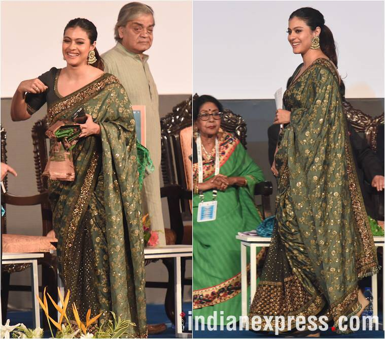kajol, sabyasachi, sabyasachi mukherjee, kajol sabyasachi sari, kajol srk, shah rukh khan, kolkata film festival, kajol kiff, kajol kolkata film fest, kajol photos, kajol style file, indian express, fashion news, lifestyle news, entertainment news,