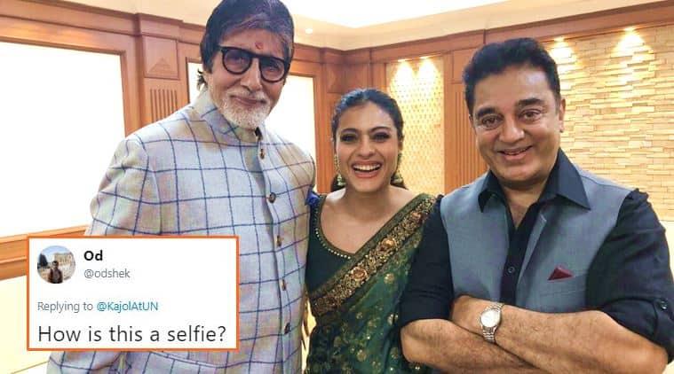 kajol, amitabh bachchan, kamal haasan, kajol amitabh bachchan kamal haasan, kajol amitabh bachchan selfie, kajol selfie time, amitabh bachchan selfie time, selfie or photo kajol, kajol selfie twitter, kajol twitter reactions, indian express, indian express news