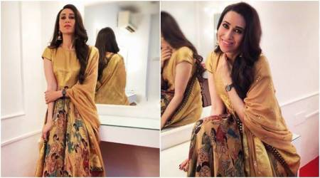Karisma Kapoor gives some serious ethnic goals in this Gaurang Shah anarkali suit