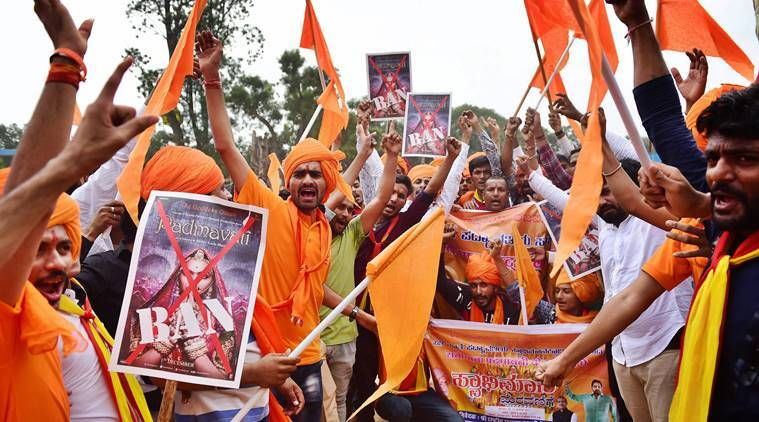 Padmavati row, Karni Sena, Karni sena protest, Padmavati protest, karni sena call for bandh, bollywood, sanjay leela bhansali, India news, indian express news