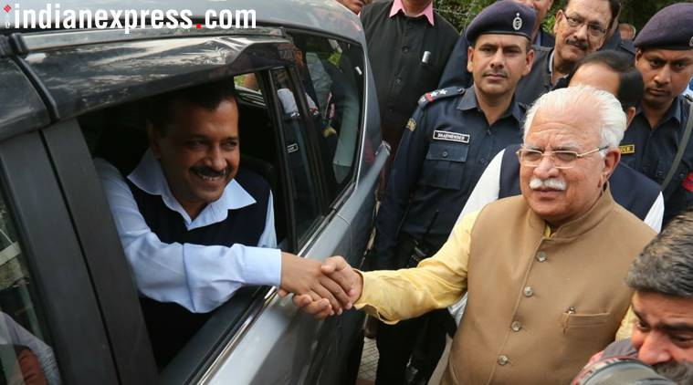 Arvind Kejriwal, Manohar Lal Khattar, Delhi air pollution meeting