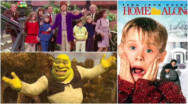 kids films, home alone, shrek, willy wonka, kids movies