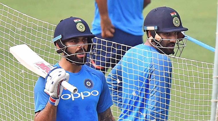 Virat Kohli and Rohit Sharma in the nets in Kolkata