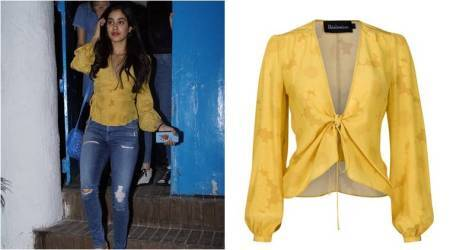 Jhanvi Kapoor keeps it casual and chic in yellow wrap top and distressed denims